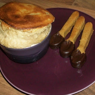 Coffee & Amaretto Soufflés With Chocolate Dipped Vanilla Coffee Biscuit Spoons