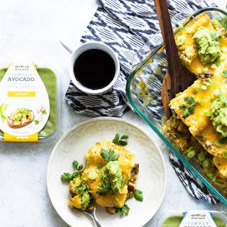 Salsa Verde Egg, Sausage, and Potato Breakfast Enchiladas.