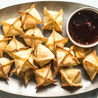 Baked Vegetable and Cream Cheese Wontons.