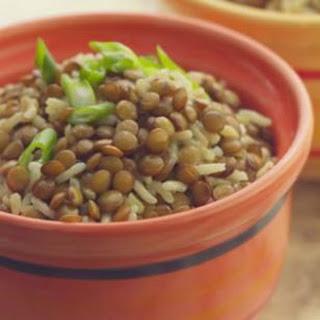 Baked Curried Brown Rice & Lentil Pilaf.