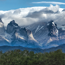 Mountain Peaks by Phyllis Plotkin - Landscapes Mountains & Hills ( mountains, clouds, peaks, landscape, tierra del fuego, chile )