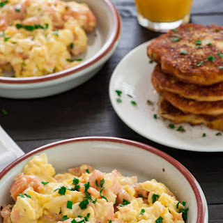 Creamy Scrambled Eggs with Smoked Salmon.
