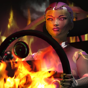 Robot Girl Going Down In Flames Closeup by Emily Fnm3d - Illustration Sci Fi & Fantasy ( flames, accident, technology, high resolution, vehicle, robot, space, heat, tech, fire, detailed render, explode, disaster, fantasy, planet, buggy, girl, female, 3d, woman, stars, explosion, dramatic, melt )