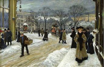 "Photo: Paul Gustave Fischer, ""Inverno a Kongens Nytorv (King's Square), Copenhagen"" (1907)"