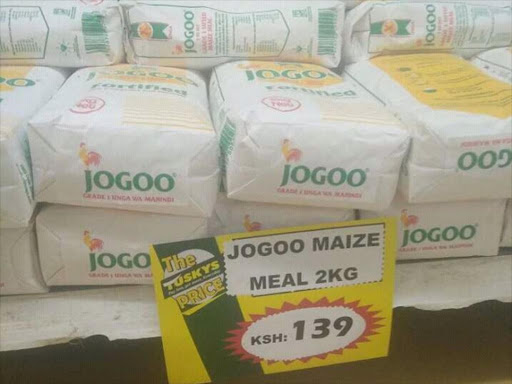 Maize flour on sale at a supermarket. /COURTESY