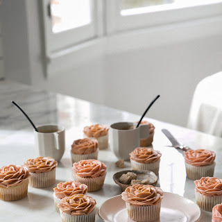 Cappuccino-Flavored Rose Cupcakes.