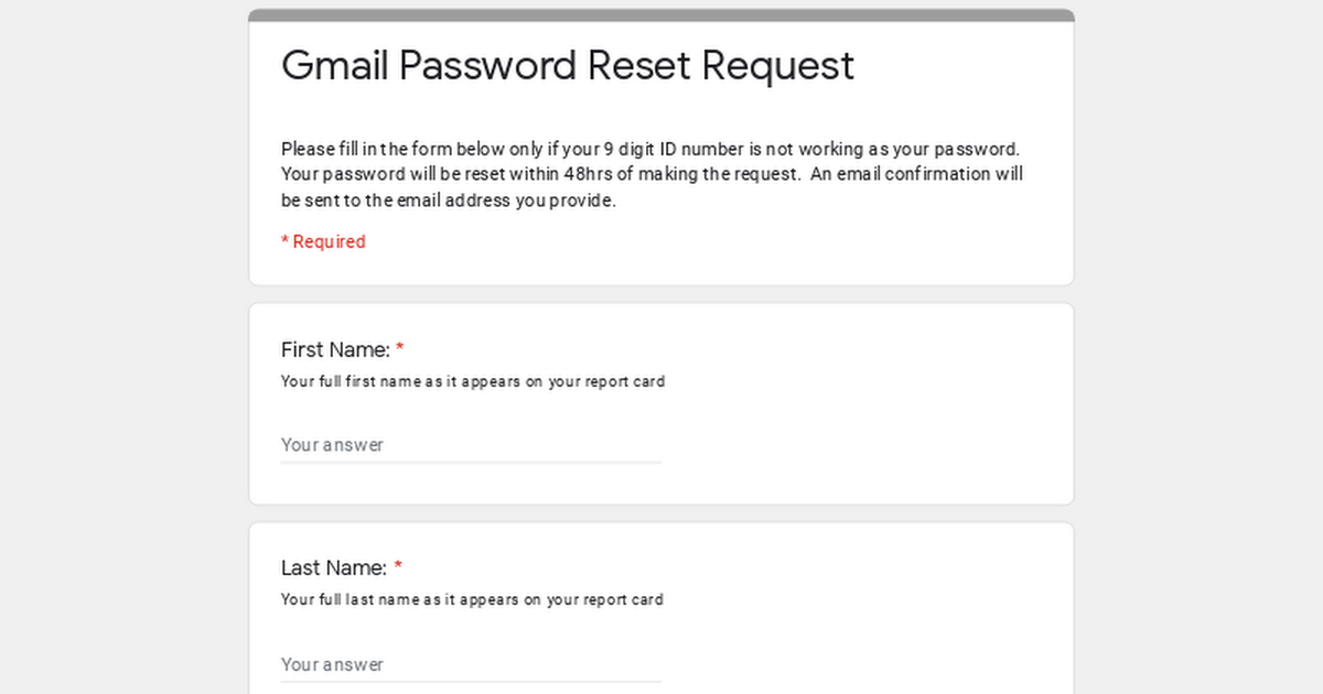 Gmail Password Reset Request