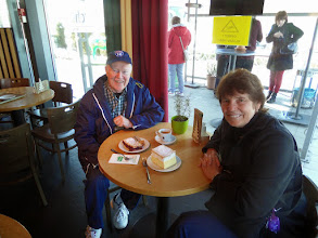 Photo: At a rest stop we bought a cherry strudel and a cream cake.  They were both wonderful!  With a tiny cup of coffee for Roger it cost about $8.00!