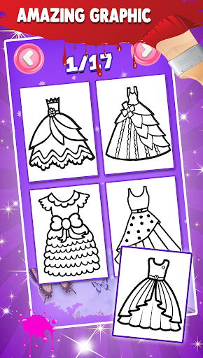 Glitter Dresses Coloring Book For Kids screenshot 2