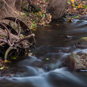 Wheel in Time by Brad Chapman - Landscapes Waterscapes ( waterfalls, old mill falls., tiffany falls, november 2013, hamilton,  )