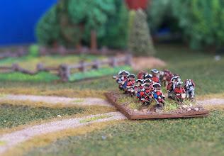 Photo: La fanteria leggera inglese presidia la strada per Montreal. Miniature Baccus, materiale scenico autocostruito.