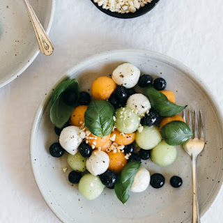 Melon Mozzarella Salad with Basil.