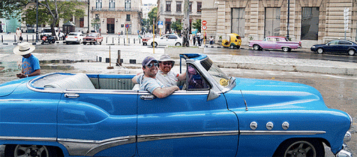 My friend and me in the front set of a 1952 convertible Buick Super in Cuba this week.