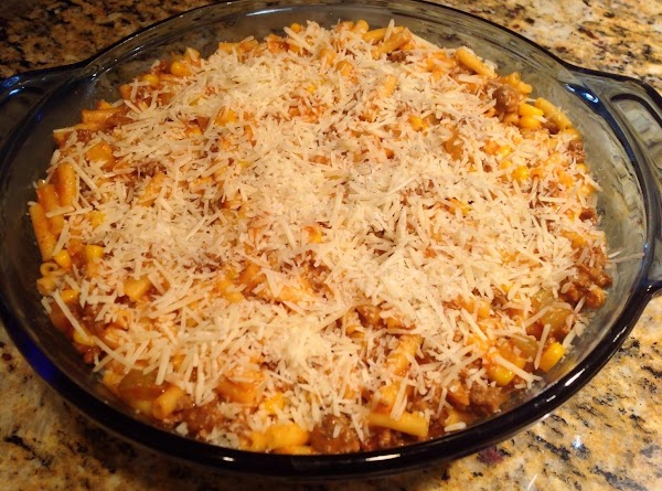 Pour into a two quart casserole and sprinkle with Parmesan Cheese on top. ...