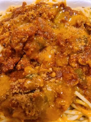 Mary B's Ground Chicken Spaghetti