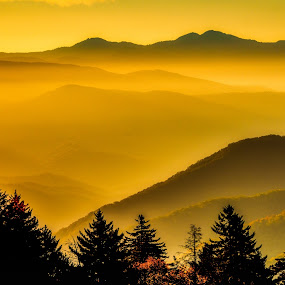 Smoky Mountain Sunset by Mike Moss - Landscapes Mountains & Hills ( 2017, mountains, sunset, jennifewr king, smoky mountains )