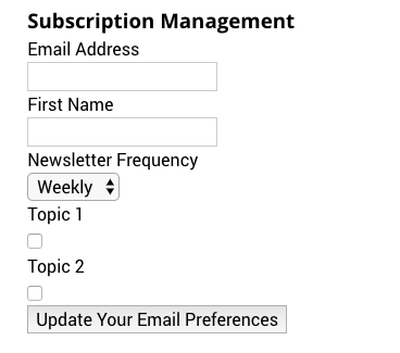 Subscription management form