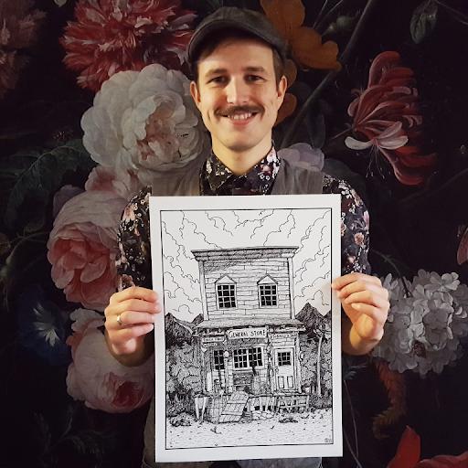 Stefan Vogels: Zelfportret met werk