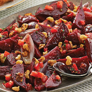 Slow-Roasted Beets & Shallots with Strawberry Vinaigrette.