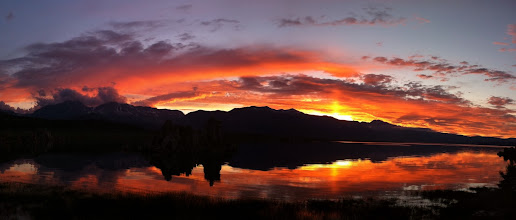 Photo: Sunset at Mono Lake, complete with a sun pillar. This is a 5-photo panorama taken with my iPhone4. No post-processing except stitching and cropping by the Autostitch app.  #TravelPanoWednesday #WideWednesdayPanorama