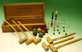Photo: Table Croquet set by FH Ayres Ltd (see stencil marking on inside of lid) - image ex eBay