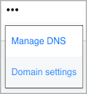 Domain Settings is selected from the More icon drop-down list.