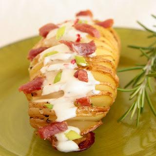 Fancy Hasselback Potatoes with Bacon and Greek Yogurt Dip