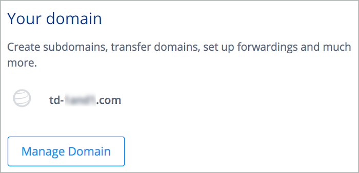 Manage Domain link is in Your Domain pane.