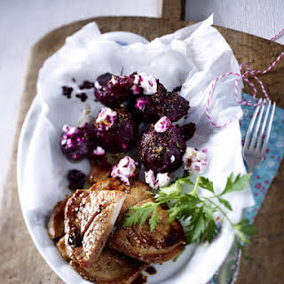 Pork Chops with Spicy Roasted Beets and Goat Cheese.