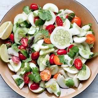 Thai Cucumber Tomato Salad with Mint, Basil and Cilantro.