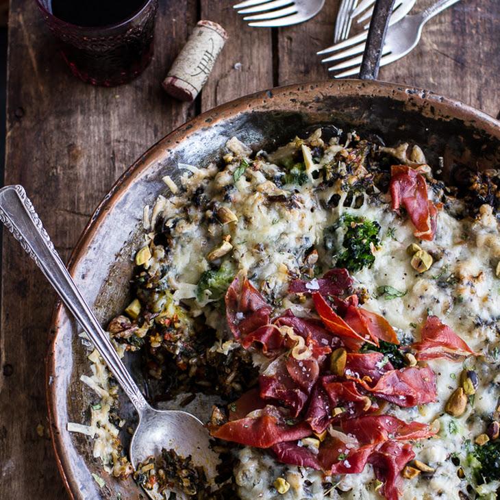 Harissa Broccoli, Spinach and Wild Rice Casserole with Crispy Prosciutto.
