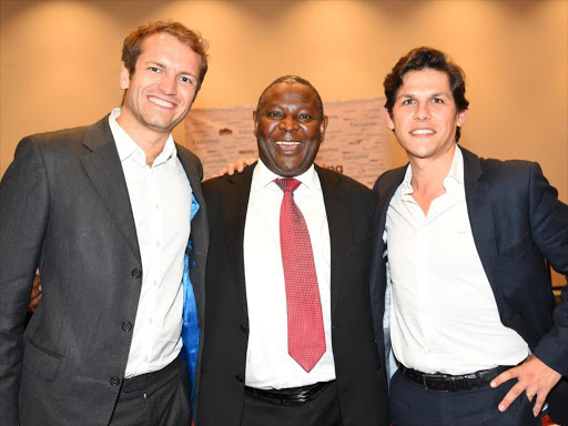 Equity Bank CEO James Mwangi shares a light moment with Jumia Kenya MD, Sam Chappatte (Left) and Juan Seco- Finance Manager.Photo/COURTESY