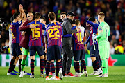 Manager of Liverpool, Jurgen Klopp hugs Lionel Messi of FC Barcelona after the UEFA Champions League Semi Final first leg match between Barcelona and Liverpool at the Nou Camp on May 01, 2019 in Barcelona, Spain.