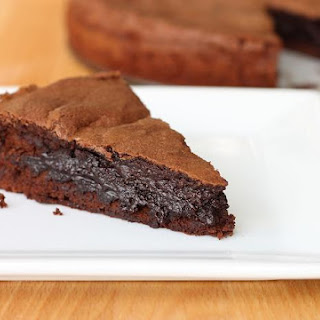 Molten Dark Chocolate Brownie Cake.