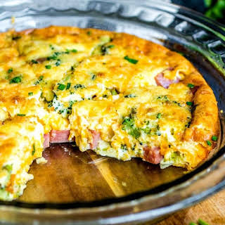 Low Carb Ham and Cheese Crustless Quiche.