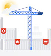 Stylized thumbnail of an industrial crane and shipping containers. One container has a red key, one has a locked padlock, one has a red shield with a person on it