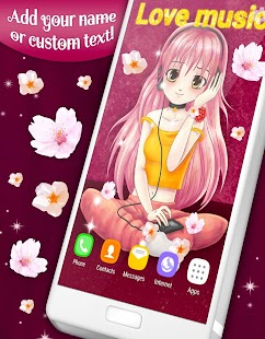 Anime Girl with Sakura Live Wallpaper - náhled