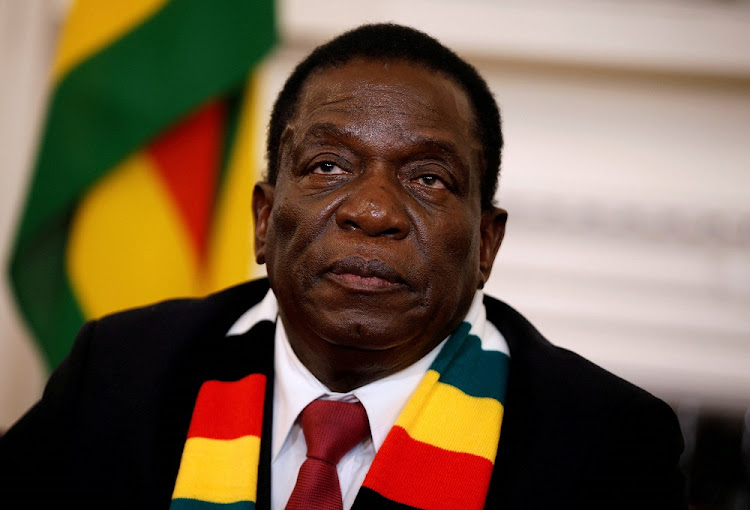 FILE PHOTO: Zimbabwe's President Emmerson Mnangagwa gives a media conference at the State House in Harare, Zimbabwe, August 3, 2018.
