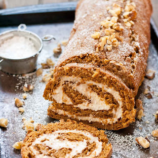 Gingerbread Cake Roll with Eggnog Cream Filling