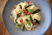 New on Embarc's menu is pear and ricotta tortellini with garlic cream, almonds and crispy sage.