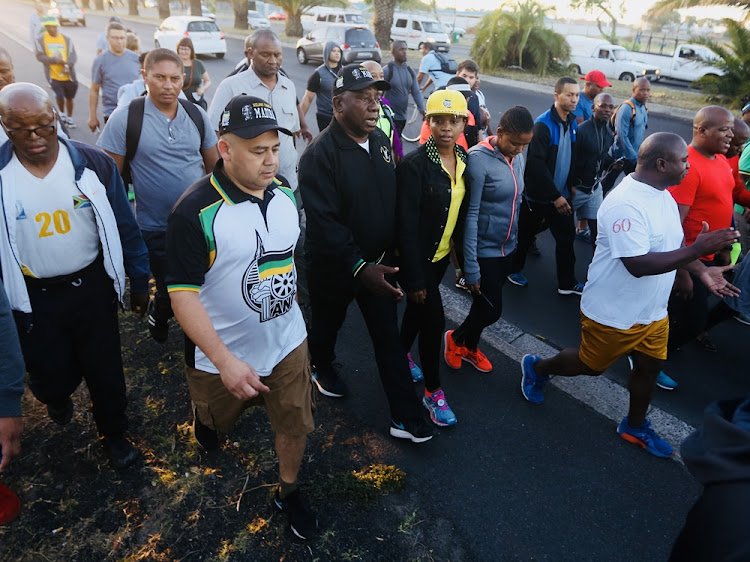 President Cyril Ramaphosa was joined by members of the public on his morning walk in Cape Town on 20 February 2018.