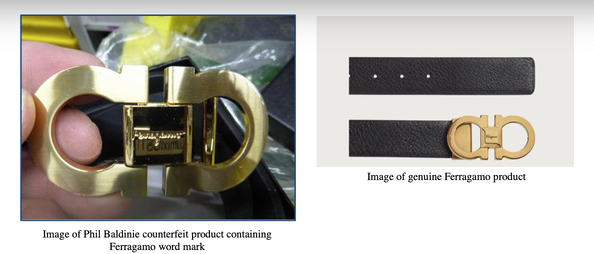 A screenshot from the complaint, showing how a product with no Ferragamo word mark in the product page actually has thee word on the product once delivered.