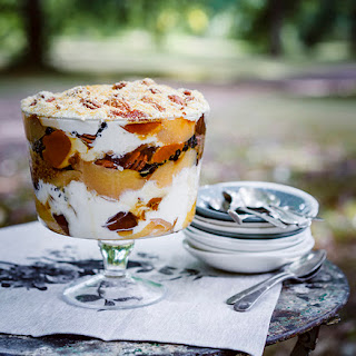 Peter Gilmore's quince, pecan and crème caramel trifle with Gretchen's honey cream.