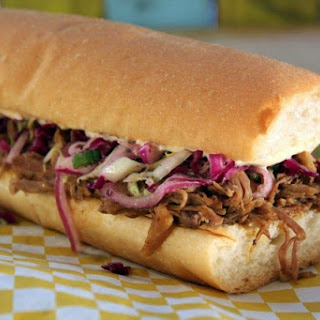 Emeril's Slow-Cooked Cochon de Lait Po'Boy for Jazz Fest.