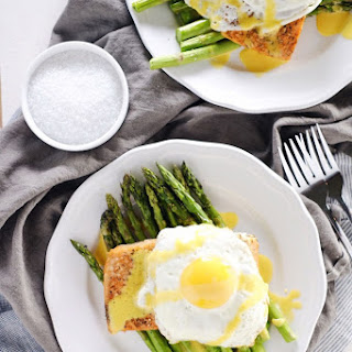 Roasted Salmon and Asparagus with Hollandaise Sauce (Paleo + GF)