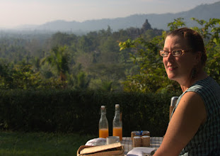 Photo: Breakfast over Borobudur (temple in the background)