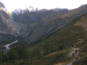 Photo: We'll descend all the way to the stream, then climb back up and cross the pass into the Swiss Val Ferret.