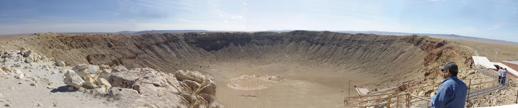 Photo: Panoramic view of Meteor Crater, AZ, using five images