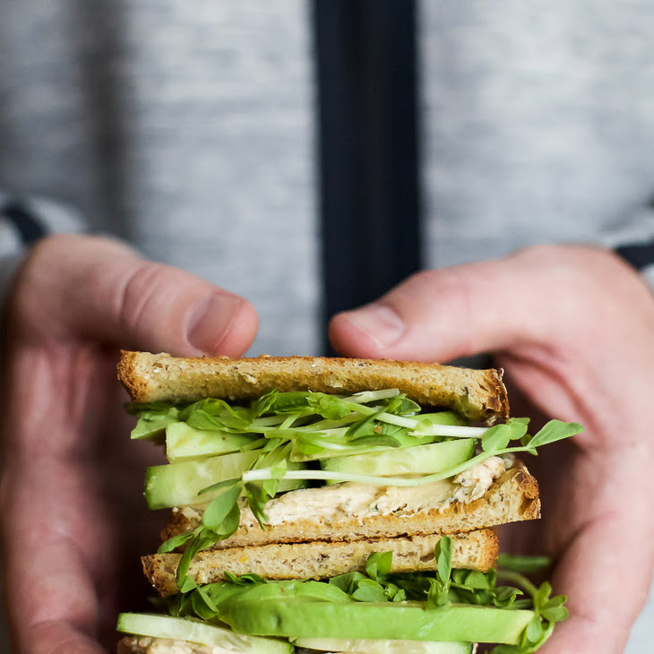Cucumber Avocado Sandwich with Herb Goat Cheese