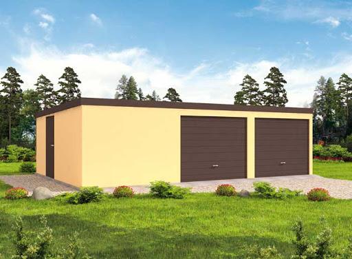 projekt GB7 Garaż Blaszany otynkowany